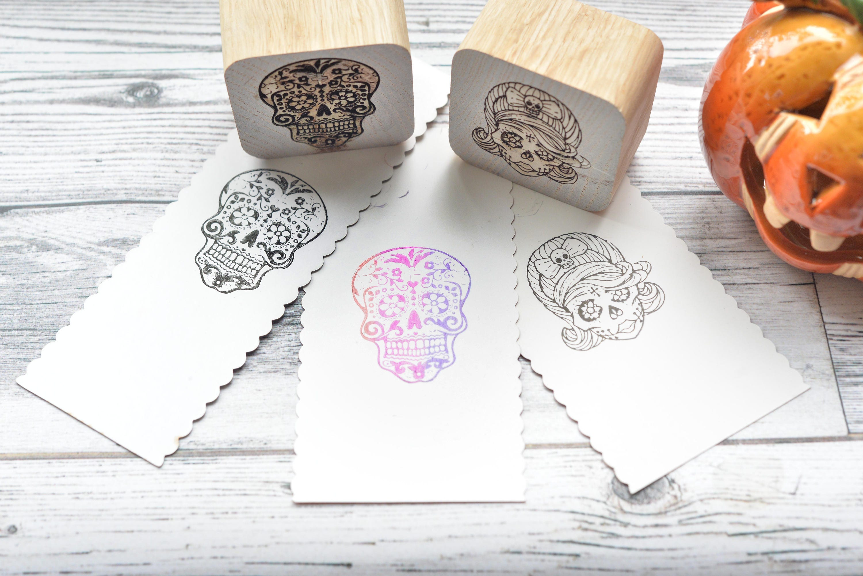 SUGAR SKULL, male or female custom stamps , Halloween Stamps, Spooky ...