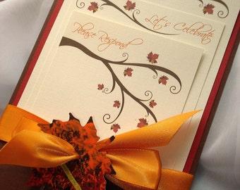 Seasons of Love Wedding Invitation, Fall Wedding Invitation, Autumn Leaf Wedding Invitation, Rustic Wedding Invite, Pocket Fold Invitation