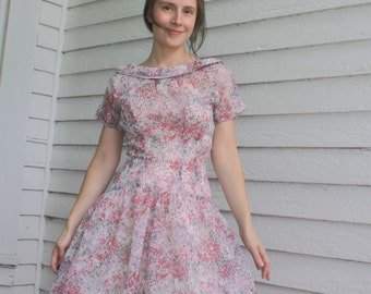 50s Sheer Dress Floral Print Full Skirt XS Vintage 1950s Jonathan Logan