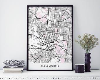 Melbourne Art, City Map Print Wall Art | A4 A3 A2 A1