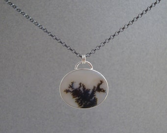Dendritic Agate Pendant in Sterling Silver, Natural Stone Necklace, Blackened Chain