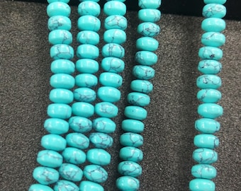 Synthetic Blue Turquoise rondelles Green Stone rondelle Beads 6x4mm -98pcs/Str
