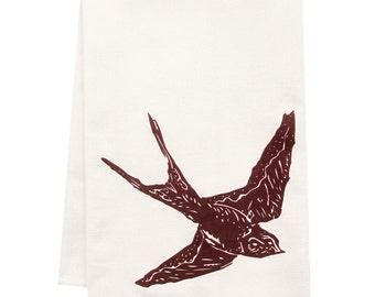 ORGANIC swallow tea towel