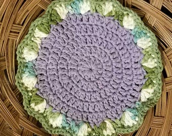 READY TO SHIP --Round Scalloped Potholder-- Flower Hotpad--Double Layers--Purple, Ecru, Green, Blue
