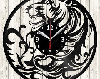 Lion Vinyl Clock Handmade Art Decor Your Room Original Gift 1727