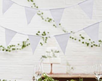 White Fabric Bunting, Wedding Bunting, Celebration Bunting, Baby Shower Bunting, Birthday Party Bunting, White Flag Fabric Bunting