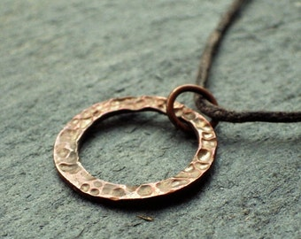 Hammered Copper Circle Necklace