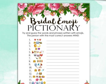 Bridal Shower Game Pictionary - EMOJI Pictionary - Peony Bouquet - Instant Printable Digital Download - diy Bridal Shower Printables