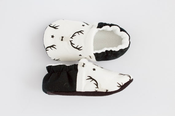 White and black stag baby shoes, baby boy toddler, pre walker, crib shoe, Christmas shoes