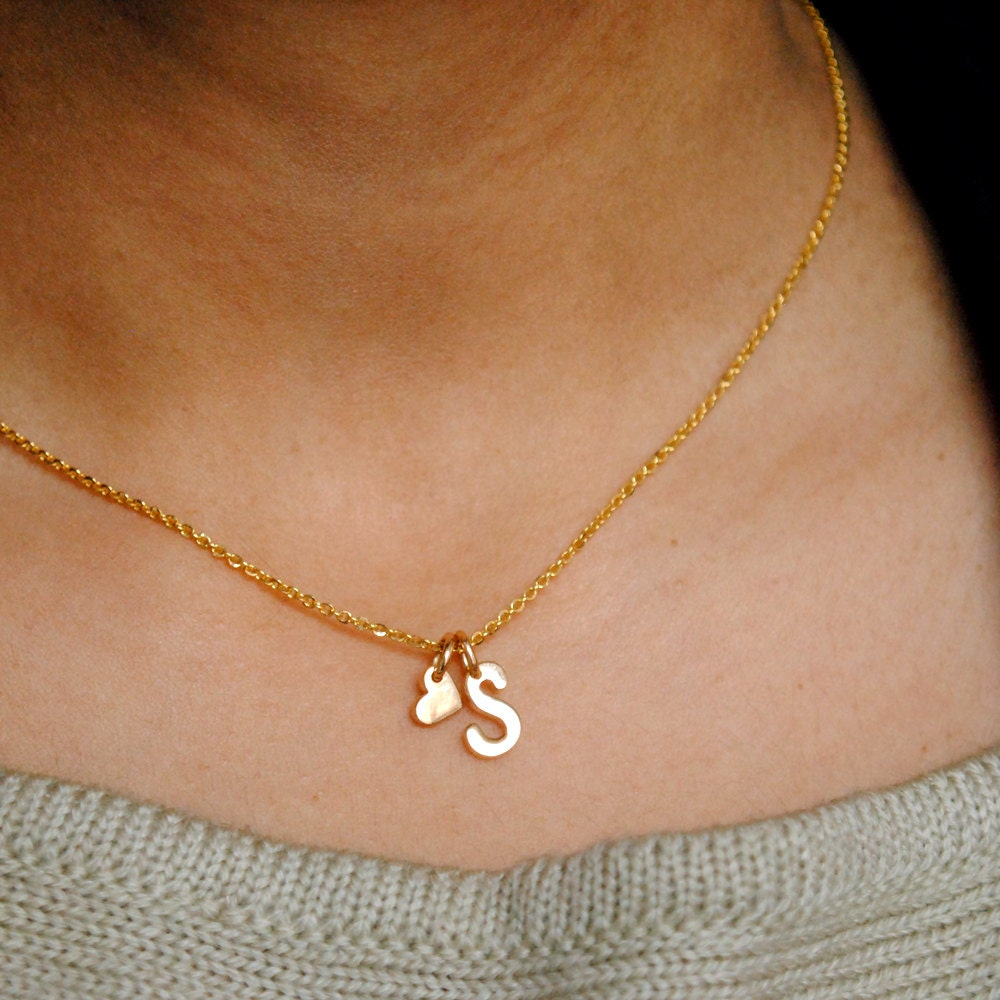 18K Gold Initial Necklace. Custom Initial & Heart Charm