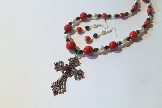 Cross Necklace, Black and Red Beaded Cross Necklace, Ornate Cross Necklace and Earring Set, Silver Cross Necklace, Christian Jewelry Gift