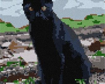 Needlepoint Kit or Canvas: Black Cat 2