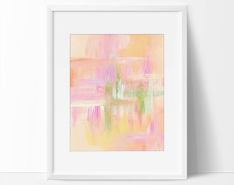 Abstract Art, Orange Pink and Green Art Print, 8 x 10 Abstract, 5 x 7 Abstract Print, Abstract Painting, Abstract Watercolor.