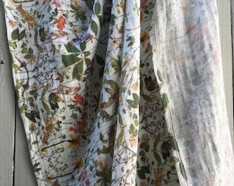 Organic Cotton Gauze Swaddling Blanket, Baby Blanket, Swaddler, Baby Wrap, Pressed Flowers Print, Made to Order
