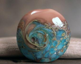 Lampwork Lentil Focal Bead, Artisan Glass Focal Bead, Organic Lampwork, Divine Spark Designs, SRA