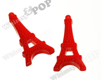 2 - Kawaii Red Paris France Eiffel Tower Resin Pendant Charms,  Eiffel Tower Cabochons (R9-050)