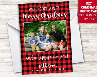 Plaid Christmas Photo Card Digital 5x7 Holidays Red Plaid Buffalo Lumberjack Picture Family