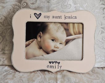 I love my aunt picture frame gift for aunt from niece nephew Personalized picture frame birthday wedding gift Custom photo frame gift aunt