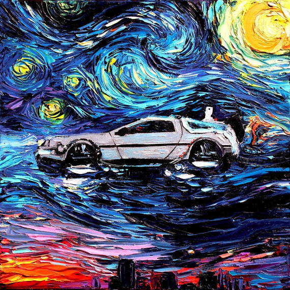 Back To The Future Art CANVAS Print Starry Night Delorean Van