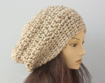 Winter Hat, Oatmeal Beige Hat, Chunky Hat, Ready to Ship,  Slouchy Beanie, Hand Crochet Hat,   Warm, Thick Hat