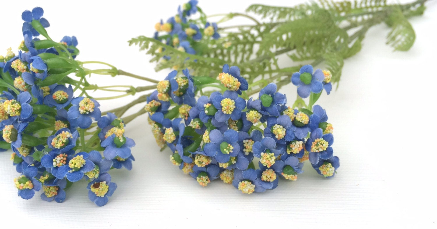 Blue Forget Me Not Flower Spray Artificial Flowers Silk