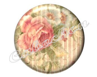 2 cabochons 20mm glass, Valentine's day, flowers