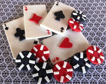 12 Fondant toppers,Las Vegas,Casino, poker party, fondant playing cards, poker chips, gambling party, edible cards, cake and cupcake toppers