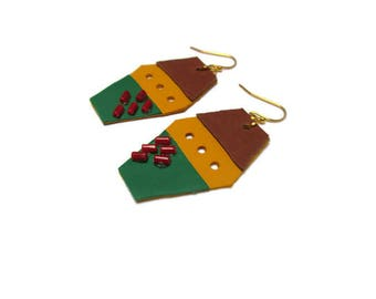 Leather earrings / Three color leather earrings / Bohemian earrings / Gift for her / Tribal style earrings / Whimsical earrings /