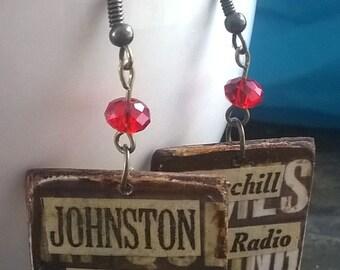 WW2 Themed Decoupage Dangle Earrings