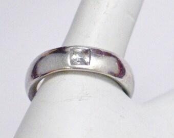 Mens wedding engagement ring band Sterling Silver comfort fit diamond alternative cz 5.89 mm wide sz 8 womens mens transgender fine jewelry
