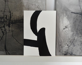 Original small minimal abstract art, black and white ink painting, modern art, minimal abstract, ink drawing, ink art, art, abstract, zen