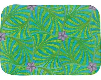 "Tropical LAGUNA CIPRESTE Bath Mat, 17x24"" or 21x34"" - VZKX - Cypress Palm Leaf Lagoon Pattern with Star Shaped Purple Flowers"