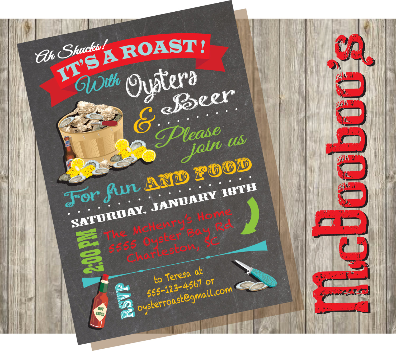 Chalkboard Oyster Roast Party Invitations. Say Ah