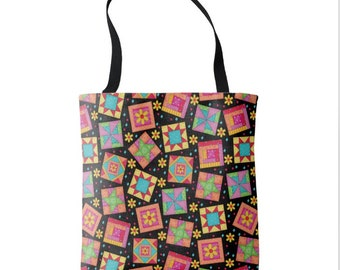 """Quilt Block Art 16"""" x 16"""" Tote Bag, Black Background, Colorful Multicolor Quilt Block Toss, Patchwork Tote, Large Quilter Tote Carry All"""