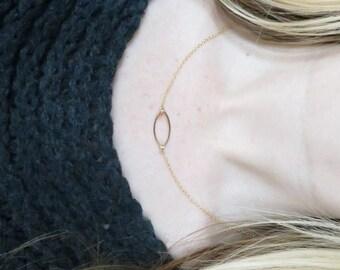 Minimalist Petal Silhouette Gold Filled Necklace. Dainty Gold Necklace. Gold layering Necklace.