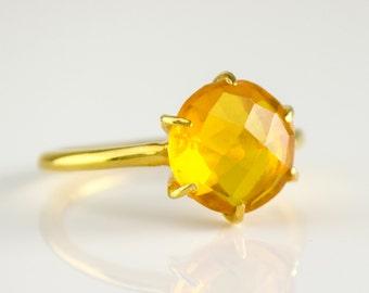 Citrine Ring, November Birthstone Ring, Gemstone Ring, Stacking Ring, Gold Ring, prong ring, Round Ring, citrine jewelry, stacking rings