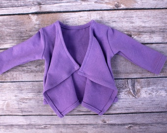 SAMPLE SALE - Fits like American Girl Doll Clothes - Cascade Cardigan in Lilac | 18 Inch Doll Clothes