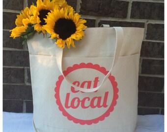 Canvas Tote Bag* Canvas Tote*Tote Bag*Eat Local* Coral *  Large Tote Bag* Canvas Tote Bag With Pockets* Market Tote Bag* Grocery Tote Bag