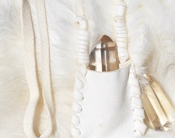 White Deerskin Pouch with Arkansas Crystal Point