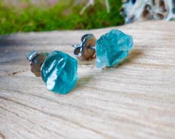 Raw Blue Green Apatite Madagascar Surgical Steel Stud Earrings Rough Gemstone Crystal