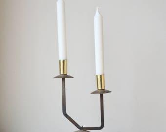 Vintage Handmade Brass and Copper Asymmetrical  Candelabra Candle Holder