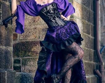 Purple and Black Steampunk Skirt, Renaissance Festival, Victorian, Ren Fest, Fair, Faire, Pirate, Airship, Ruffle Skirt, Hi-Low, High Low