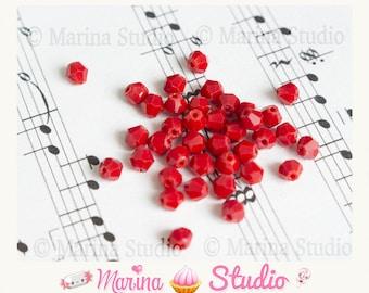 30 beads 4mm swarovski crystal Red