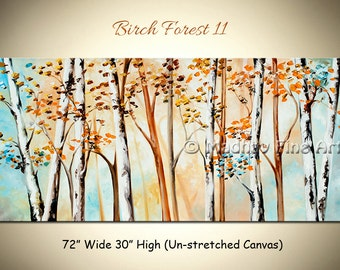 Original Birch Tree Forest Painting, Large Abstract Painting, Colorful Wall Art on canvas, unstretched Size: 72'' x 30'' by MadhavFineArt