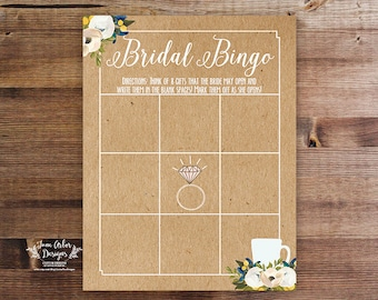 "Bridal Bingo Printable | DIY Shower Game | 8.5x11"" | Love Is Brewing Wedding Shower | INSTANT DOWNLOAD | Kraft Effect | Coffee Theme | Bride"