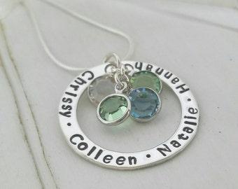 Sterling Silver Name Necklace, Custom Name Necklace, 4 Name Necklace, Personalized Mother Necklace, Birthstone, Grandma or Nana Necklace