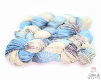 Hand dyed DK weight yarn. Merino/silk 1ply, merino/tussah {Glacial mist} Indie dyed variegated  yarn. Blue, grey & cream yarn.