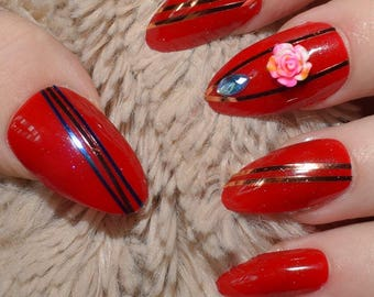 Red Fake Nails, Long Almond False Nails, Hand Painted And Decorated Press On Nails, Long Nails, Nail Designs, 20 Full Cover Nails, Glue On