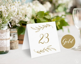 Wedding Table Numbers 1–40, Gold Wedding Table Numbers Template, Reserved and Head Table Signs Included, Tent Style, VW38