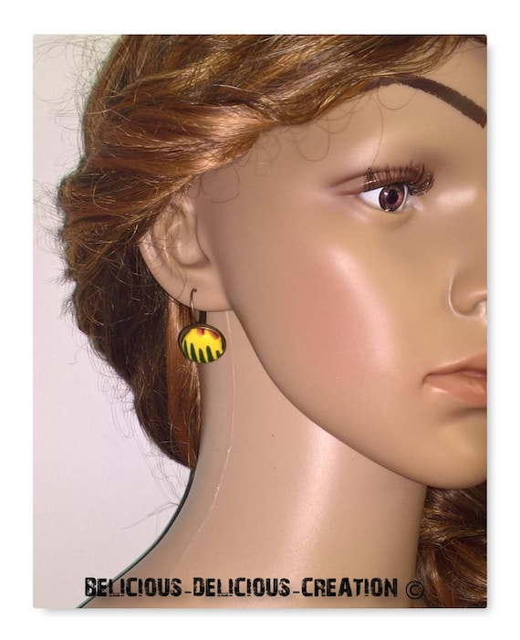 Original earrings! WAX! bronze Metal and 1.8 cm belicious delicious creation T yellow green African fabric